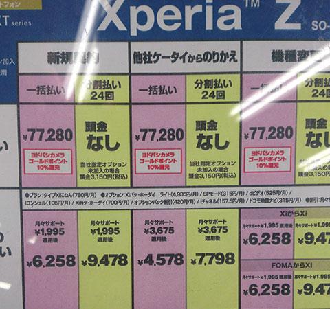 XperiaZ発売日時点での価格